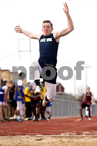 A long jump athlete competes during a track and field meet at Bullard High School in Bullard, Texas, on Thursday, March 8, 2018. (Chelsea Purgahn/Tyler Morning Telegraph)