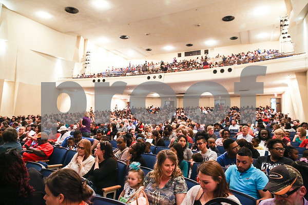 "The audience waits for the Caldwell Dance Showcase to begin at Caldwell Auditorium in Tyler, Texas, on Thursday, March 9, 2017. Over 600 elementary students, their teachers and a few surprise guests performed during the program, which was themed ""In The News."" (Chelsea Purgahn/Tyler Morning Telegraph)"