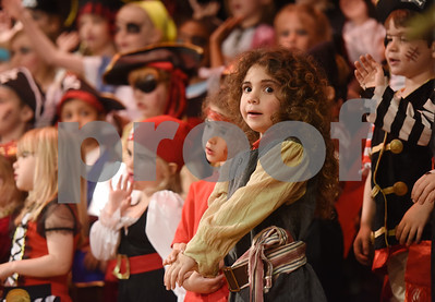 All Saints Episcopal School student Elly Delgado-Charles, 4, sings a pirate themed song during a pirate musical held Thursday morning at the Lower School Auditorium.   (Sarah A. Miller/Tyler Morning Telegraph)