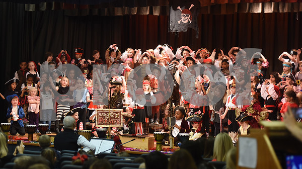 All Saints Episcopal School students in 4K, kindergarten and first grade dressed as pirates for a pirate musical held Thursday morning at the Lower School Auditorium.   (Sarah A. Miller/Tyler Morning Telegraph)