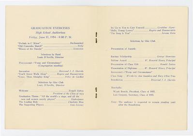 VHS 1954 Graduation Program 003