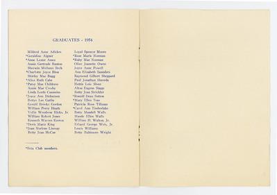 VHS 1954 Graduation Program 004