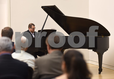 The University of Texas at Tyler student Brian Sanders performs on piano during the grand opening of the Center for the Musical Arts, a $6.5 million two-story addition that houses band/orchestra and choir practice rooms, teaching studios and faculty offices at the University of Texas at Tyler.  (Sarah A. Miller/Tyler Morning Telegraph)