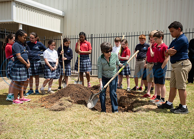 Judith Guthrie of the Tyler Trees Committee teaches St. Gregory students the proper way to plant a tree at the St. Gregory Cathedral School playground in Tyler on Tuesday April 16, 2019. The fifth grade classes planted and dedicated two Live Oak trees to their school.   (Sarah A. Miller/Tyler Morning Telegraph)