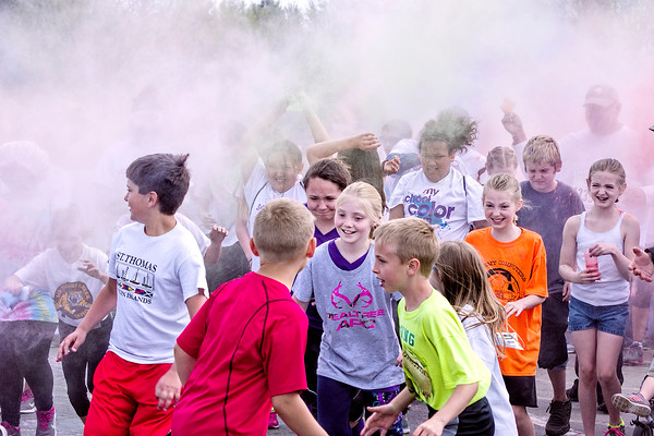 Mark Maynard | For The Herald Bulletin<br /> The Alexandria My School Color Run kicks off in an explosion of colored powder on Saturday. View more photos on line at heraldbulletin.smugmug.com.