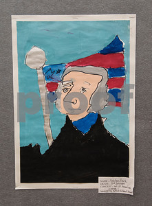 A picture of George Washington by All Saints Episcopal School third grader Ashton Park is on display in the Student Art Exhibit Monday April 24, 2017. The art exhibit features pieces from all students grade 3K-12. It opens Tuesday at 6:30 p.m. at Brookshire Gym.  (Sarah A. Miller/Tyler Morning Telegraph)