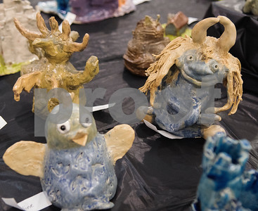 Gargoyles are pictured in the All Saints Episcopal School Student Art Exhibit Monday April 24, 2017. The art exhibit features pieces from all students grade 3K-12. It opens Tuesday at 6:30 p.m. at Brookshire Gym.  (Sarah A. Miller/Tyler Morning Telegraph)