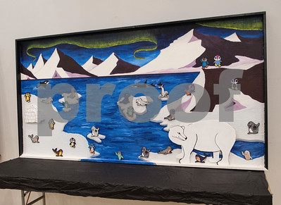 A mural made by members of the Upper School Art Club is on display for the All Saints Episcopal School Student Art Exhibit Monday April 24, 2017. The art exhibit features pieces from all students grade 3K-12. It opens Tuesday at 6:30 p.m. at Brookshire Gym.  (Sarah A. Miller/Tyler Morning Telegraph)
