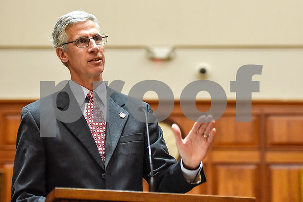 Assistant U.S. attorney Jim Noble speaks during a mock trial at the William M. Steger Federal Building and U.S. Courthouse in Tyler, Texas, on Monday, April 24, 2017. Students from Bishop Thomas K. Gorman Regional Catholic School and All Saints Episcopal School were touring the building and surprised with the opportunity to participate in a mock trial. (Chelsea Purgahn/Tyler Morning Telegraph)