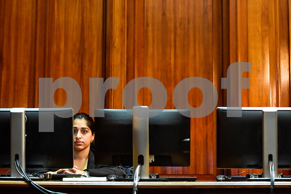 Law clerk Prachi Mehta listens during a mock trial at the William M. Steger Federal Building and U.S. Courthouse in Tyler, Texas, on Monday, April 24, 2017. Students from Bishop Thomas K. Gorman Regional Catholic School and All Saints Episcopal School were touring the building and surprised with the opportunity to participate in a mock trial. (Chelsea Purgahn/Tyler Morning Telegraph)