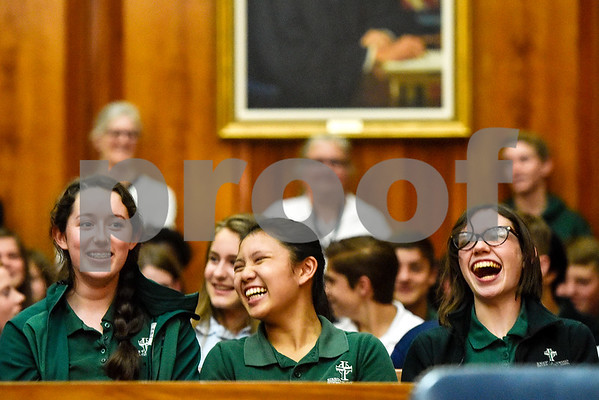 Bishop Thomas K. Gorman Regional Catholic School students laugh during a mock trial at the William M. Steger Federal Building and U.S. Courthouse in Tyler, Texas, on Monday, April 24, 2017. Students from Bishop Thomas K. Gorman Regional Catholic School and All Saints Episcopal School were touring the building and surprised with the opportunity to participate in a mock trial. (Chelsea Purgahn/Tyler Morning Telegraph)