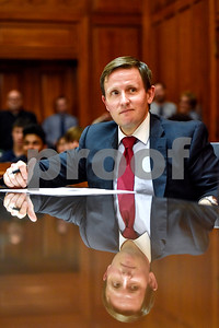 Assistant U.S. attorney Bob Wells listens during a mock trial at the William M. Steger Federal Building and U.S. Courthouse in Tyler, Texas, on Monday, April 24, 2017. Students from Bishop Thomas K. Gorman Regional Catholic School and All Saints Episcopal School were touring the building and surprised with the opportunity to participate in a mock trial. (Chelsea Purgahn/Tyler Morning Telegraph)