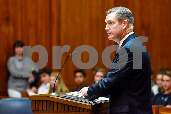 Assistant U.S. attorney Frank Coan speaks during a mock trial at the William M. Steger Federal Building and U.S. Courthouse in Tyler, Texas, on Monday, April 24, 2017. Students from Bishop Thomas K. Gorman Regional Catholic School and All Saints Episcopal School were touring the building and surprised with the opportunity to participate in a mock trial. (Chelsea Purgahn/Tyler Morning Telegraph)