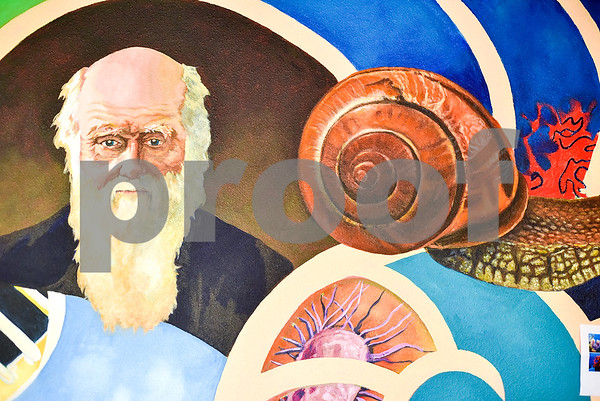 Part of a mural at the Biology, Education and Psychology building at The University of Texas at Tyler in Tyler, Texas, on Friday, April 28, 2017. The students started planning the mural in January and painting in February. (Chelsea Purgahn/Tyler Morning Telegraph)