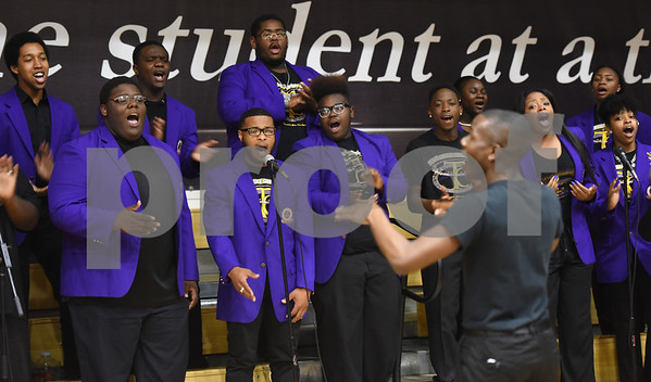 The Texas College concert choir performs at the building dedication service to commemorate the competition Phase 1 of the Texas College Master Plan Building Project Thursday April 7, 2016.  (Sarah A. Miller/Tyler Morning Telegraph)