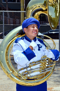 ray was happy he got his hand out of the tuba :)