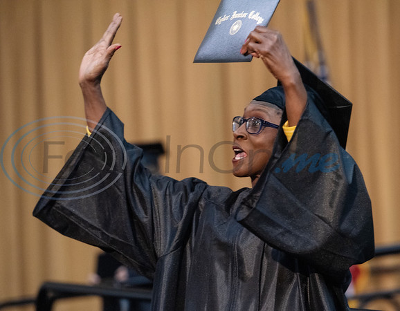 Tyler Junior College graduate Linda Walter, 65, of Tyler, receives her Associates of Arts in Psychology at the commencement ceremony for Engineering, Math & Science departments plus all Early College graduates on Friday May 10, 2019.  (Sarah A. Miller/Tyler Morning Telegraph)