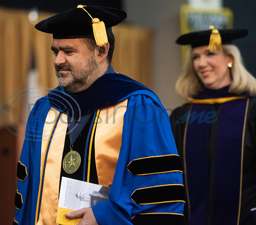 Tyler Junior College President for Branch Locations and District Provost Juan Mejia walks in with the Board of Trustees and other distinguished guest at the commencement ceremony for Engineering, Math & Science departments plus all Early College graduates on Friday May 10, 2019.  (Sarah A. Miller/Tyler Morning Telegraph)