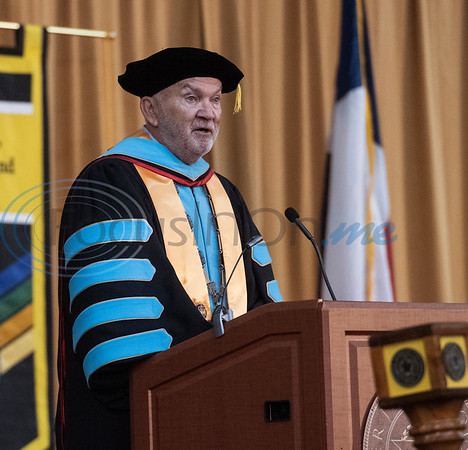 Tyler Junior College Chancellor and CEO Mike Metke speaks at the commencement ceremony for Engineering, Math & Science departments plus all Early College graduates on Friday May 10, 2019.   (Sarah A. Miller/Tyler Morning Telegraph)