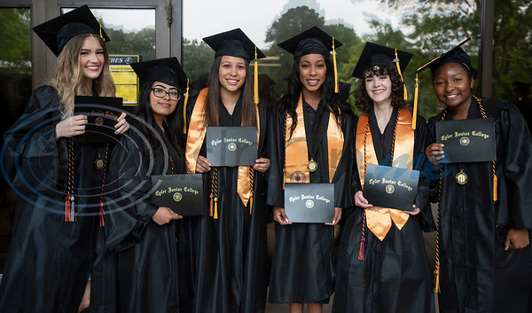 The first class of Early College High School graduates received their associates degrees from Tyler Junior College  at the commencement ceremony for Engineering, Math & Science departments on Friday May 10, 2019. Pictured from left: Katelyn Blakely, Jazmin Toledo, Alexia Urieta, Morgan Carter, Hannah McClellan and Mackenize Wade.  (Sarah A. Miller/Tyler Morning Telegraph)