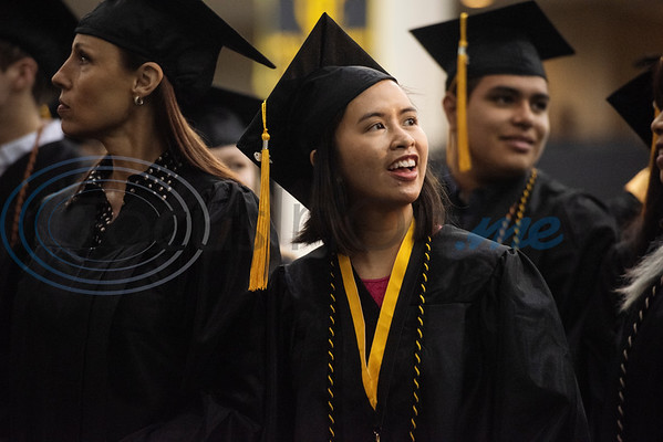 Tyler Junior College graduate Jeannie Nghiem of Tyler looks out into the crowd during the commencement ceremony for Engineering, Math & Science departments plus all Early College graduates on Friday May 10, 2019.  (Sarah A. Miller/Tyler Morning Telegraph)