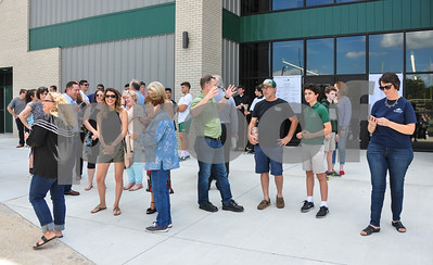 Guests gather for the Blessing and Dedication of the Brodnax Family Crusader Center, the new athletic center at Thomas K. Gorman Catholic School on Friday, May 11. (Jessica T. Payne/Tyler Paper)