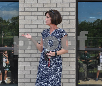 Bishop Thomas K. Gorman principal, Robin Perry, addresses the crowd prior to the school's Blessing and Dedication of the new Brodnax Family Crusader Center on Friday, May 11. (Jessica T. Payne/Tyler Paper)