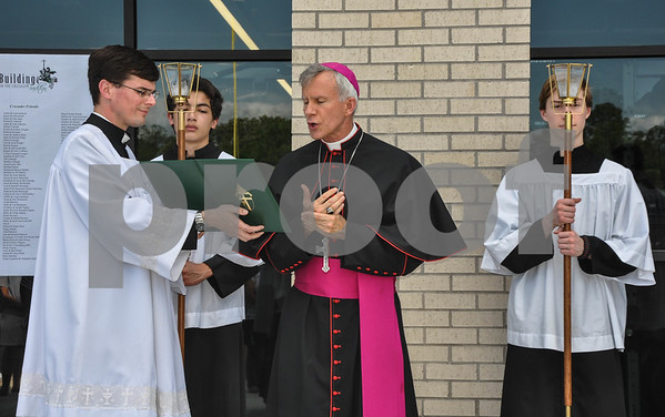 Bishop Joseph Strickland speaks at the Blessing and Dedication of Thomas K. Gorman's new athletic center, the Brodnax Family Crusader Center. (Jessica T. Payne/Tyler Paper)