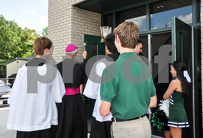 Bishop Joseph Strickland blesses and enters the new Brodnax Family Crusader Center on the Thomas K. Gorman Catholic School campus on Friday, May 11. (Jessica T. Payne/Tyler Paper)