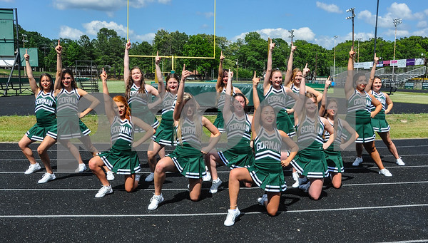 Thomas K. Gorman cheerleaders perform prior to the blessing of the school's new athletic center, the Brodnax Family Crusader Center on Friday, May 11. (Jessica T. Payne/Tyler Paper)