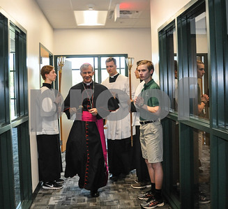 Bishop Joseph Strickland enters to bless the new Brodnax Family Crusader Center on the Thomas K. Gorman Catholic School campus. The Blessing and Dedication took place on Friday, May 11. (Jessica T. Payne/Tyler Paper)