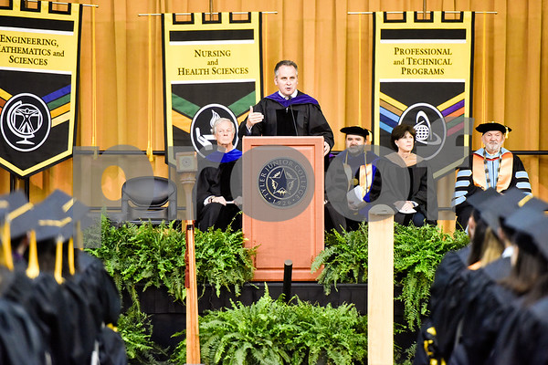 State Senator Bryan Hughes speaks during Tyler Junior College's spring commencement at Tyler Junior College in Tyler, Texas, on Friday, May 11, 2018. (Chelsea Purgahn/Tyler Morning Telegraph)