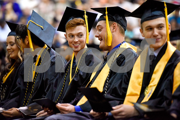 Graduates sit after receiving their diplomas during Tyler Junior College's commencement at Wagstaff Gymnasium in Tyler, Texas, on Friday, May 12, 2017. 1,141 students graduated in three different ceremonies. (Chelsea Purgahn/Tyler Morning Telegraph)