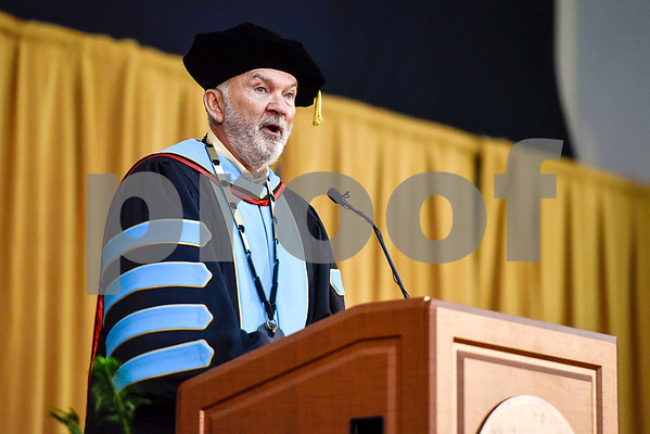 Tyler Junior College President Dr. Michael Metke speaks during Tyler Junior College's commencement at Wagstaff Gymnasium in Tyler, Texas, on Friday, May 12, 2017. 1,141 students graduated in three different ceremonies. (Chelsea Purgahn/Tyler Morning Telegraph)