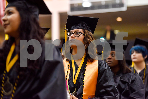 Graduates listen during Tyler Junior College's commencement at Wagstaff Gymnasium in Tyler, Texas, on Friday, May 12, 2017. 1,141 students graduated in three different ceremonies. (Chelsea Purgahn/Tyler Morning Telegraph)
