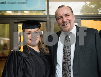 Graduate Norma Espiricuerta is pictured with GED Supervisor Rick Swain after the General Educational Development Commencement ceremony held Tuesday May 17, 2016 at Tyler Junior College's Wagstaff Gymnasium. The Literacy Council of Tyler, in partnership with TJC, provides GED preparation studies and pre-testing; English as a Second Language (ESL) and other programs.   (Sarah A. Miller/Tyler Morning Telegraph)