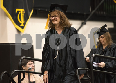 Stacy Acton is the first person to walk toe stage to receive her diploma during the General Educational Development Commencement ceremony held Tuesday May 17, 2016 at Tyler Junior College's Wagstaff Gymnasium. The Literacy Council of Tyler, in partnership with TJC, provides GED preparation studies and pre-testing; English as a Second Language (ESL) and other programs.   (Sarah A. Miller/Tyler Morning Telegraph)