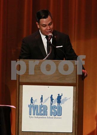 "Mark Martin/Freelance Dircetor Marc Loredo recognized students, and teachers Monday night during the Tyler ISD Foundation ""A Night of Shining Stars"" program, at Caldwell Auditorium."