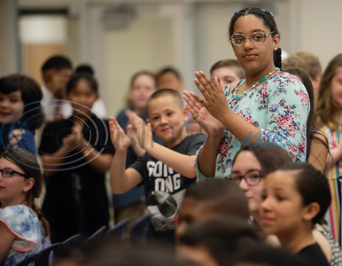 Rice Elementary School fifth grade students applaud for their teacher Annie Pitts who is retiring after 40 years of teaching at Rice.  (Sarah A. Miller/Tyler Morning Telegraph)