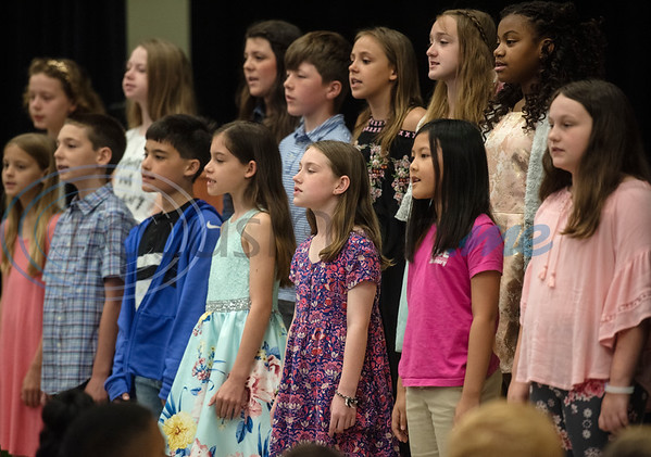 Rice Elementary School fifth grade students sing at the Fifth Grade Celebration on Friday.   (Sarah A. Miller/Tyler Morning Telegraph)