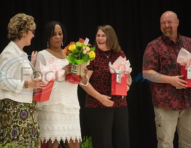 Rice Elementary School fifth grade teachers Eddie Hill, Annie Pitts, DeeAnn Tate and Gary Simms are presented with gifts during the Fifth Grade Celebration at the school on Friday May 24, 2019. Pitts is retiring after 40 years of teaching at Rice.  (Sarah A. Miller/Tyler Morning Telegraph)