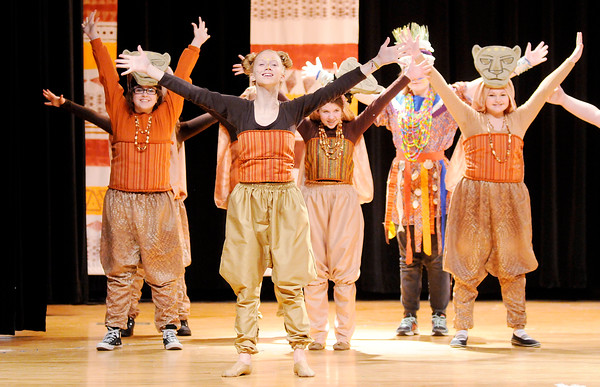 "Don Knight | The Herald Bulletin<br /> Anna Landes portrays Nala in the musical number ""I Just Can't Wait to be King"" in Highland Middle School's production of ""The Lion King Jr."" on Wednesday."
