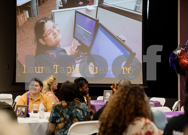 Intern Laura Tapia-Guerrero is seen in a video showcasing the 10 Project Search interns during the program's graduation ceremony on Friday May 25, 2018 at the Wisenbaker Conference Center at Christus Mother Frances Hospital in Tyler. Project Search is a partnership with Christus Trinity Mother Frances Health System, Tyler ISD, the Texas Workforce Solutions Vocational Rehabilitation Services, Winning Edge Employment Services, and the Andrews Center Behavioral Healthcare System that provides life skills and job training through internships for Tyler ISD students with disabilities.  (Sarah A. Miller/Tyler Morning Telegraph)