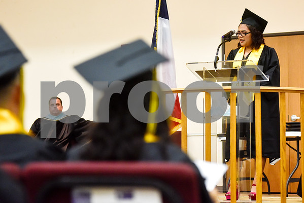 Graduate Kayla Mederos speaks during Rise Academy's graduation at St. Louis Baptist Church in Tyler, Texas, on Thursday, May 31, 2018. Hundreds of family members and friends attended to see the 55 students graduate. (Chelsea Purgahn/Tyler Morning Telegraph)