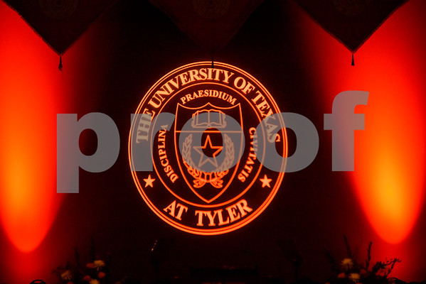 The stage is lit up during The University of Texas at Tyler's spring commencement ceremony for the College of Arts and Sciences in Tyler, Texas, on Friday, May 5, 2017. Hundreds of students received their undergraduate and graduate degrees during the ceremony. (Chelsea Purgahn/Tyler Morning Telegraph)