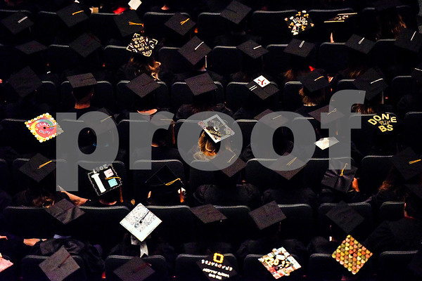Various decorated graduation caps can be seen during The University of Texas at Tyler's spring commencement ceremony for the College of Arts and Sciences in Tyler, Texas, on Friday, May 5, 2017. Hundreds of students received their undergraduate and graduate degrees during the ceremony. (Chelsea Purgahn/Tyler Morning Telegraph)