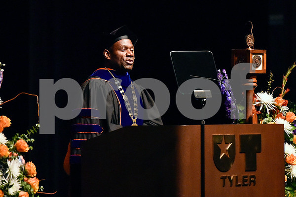 The University of Texas at Tyler President Dr. Michael Tidwell speaks during The University of Texas at Tyler's spring commencement ceremony for the College of Arts and Sciences in Tyler, Texas, on Friday, May 5, 2017. Hundreds of students received their undergraduate and graduate degrees during the ceremony. (Chelsea Purgahn/Tyler Morning Telegraph)
