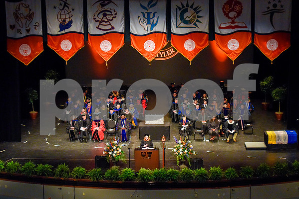 Dawn Franks speaks during The University of Texas at Tyler's spring commencement ceremony for the College of Arts and Sciences in Tyler, Texas, on Friday, May 5, 2017. Hundreds of students received their undergraduate and graduate degrees during the ceremony. (Chelsea Purgahn/Tyler Morning Telegraph)