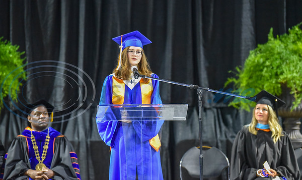 UT Tyler University Academy student Abigail Campbell, Valedictorian of the Tyler campus, speaks during the inaugural graduation for the Academy on Saturday, June 1. The Academy also includes a campus in Palestine and Longview. (Jessica T. Payne/Tyler Morning Telegraph)