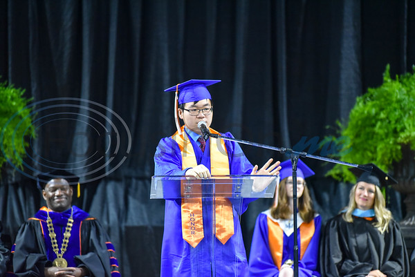 UT Tyler University Academy student Ricky Zhu, Valedictorian of the Palestine campus, speaks during the inaugural graduation for the Academy on Saturday, June 1. The Academy also includes a campus in Longview and Tyler. (Jessica T. Payne/Tyler Morning Telegraph)